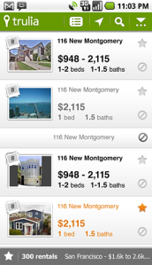Trulia Rentals List View